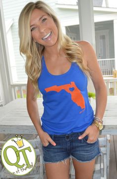 University of Florida inspired Tank - www.TailgateQueen.com - #FloridaGators #StateLove