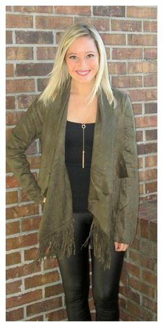 "Suede & Fringe! The hottest trends this season!! ""Olivia Jacket"" $66 sizes s-l  Ordering is easy --> 315.565.5586 OR https://secure.jotformpro.com/form/51514909970966 Have questions?? Feel free to ask!!"