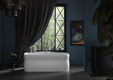 KOHLER® freestanding baths are one of life's little luxuries. Explore our freestanding bath collection. White Master Bathroom, Free Standing Bath, Master Bathroom Tub, Soaker Tub Free Standing, Modern Bathrooms Interior, Free Standing Bath Tub, Kohler, Free Standing Tub, Bathroom Design