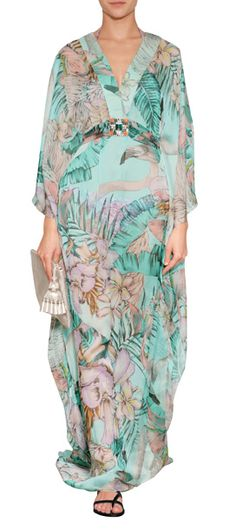 Detailed in pretty pastel hues, this floor-grazing sheer silk caftan from Matthew Williamson Escape features feminine flutter sleeves and a jeweled waist #Stylebop