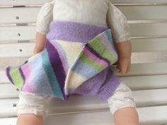 Medium upcycled cashmere wool soaker skirtie purple by Jamnee, $26.00