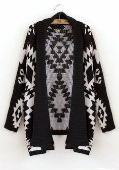 Black Geometric Normal Bat Sleeve Knit Trench Coat - Native american spirit