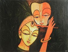 Radha Mesmerised by the Magical Sound of Krishna's Flute (Reprint On Card Paper - Unframed)