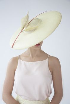 Lemon Leaves | Straw hat with silver metallic sinamay leaves and quill | Joanne Edwards Millinery | Spring-Summer 2015