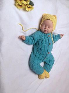 Baby jumpsuit handknitted cotton jumpsuit handknitted
