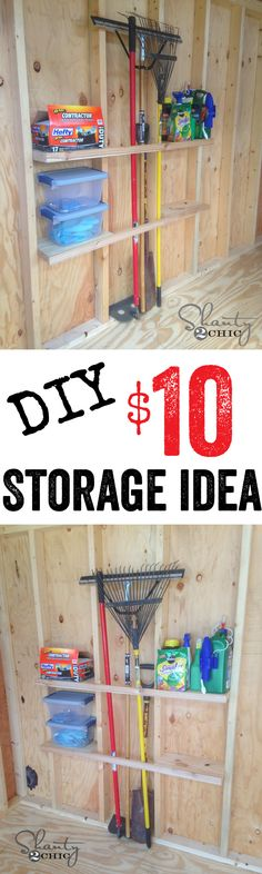 Love this DIY Shed Organization idea! Affordable shelving that will save space in your shed.Love this DIY Shed Organization idea! Affordable shelving that will save space in your shed. Storage Shed Organization, Built In Storage, Garage Storage, Storage Ideas, Woodworking Organization, Garage Shelf, Craft Storage, Organizing Ideas, Storage Solutions