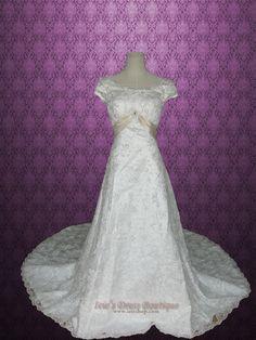 Modest Short Sleeves A-line Princess Lace Wedding Dress