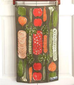Vintage VERA Tea Towel Vegetables Sliced Veggies by NeatoKeen SOLD