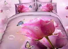 Top Selling France Rose Oil Painting 4 Piece Bedding Sets #3d #bedding #bedroom #decor