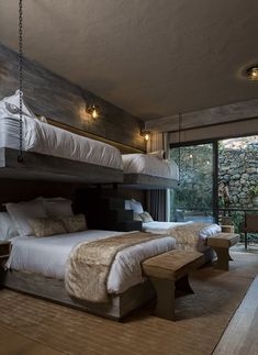 river house by luciano gerbilsky arquitectos features a steel framing that allows for wide areas with large windows and double-height ceilings. Bunk Bed Rooms, Bunk Beds Built In, Bedrooms, Home Bedroom, Bedroom Decor, Mansion Bedroom, Bunk Bed Designs, Dream Home Design, Dream Rooms
