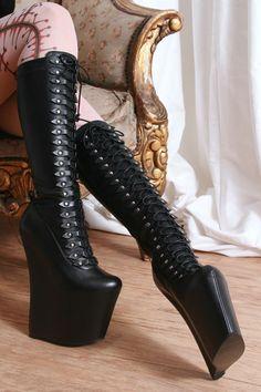 Gothic Rock Star Diva 20cm Heeless Fetish Sharp Toe Platform Knee Hi Laceup Boot