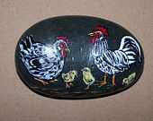 Hen, Rooster, and Chicks Hand Painted Stone Decorative Rock Art Chickens Paperweight Collectible