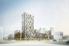 This reinterpretation of the classical European block is architectonically based on arranging four tower-socle buildings into a composition which encloses an inner courtyard. This configuration maintains the perimeter height of the block at 6 storeys (. Delft, Rotterdam, Masterplan, Residential Building Design, Tower Block, Student House, Social Housing, Architecture Plan, Contemporary Architecture