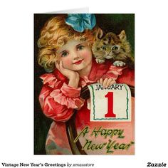 Happy New Year January 1 Little Girl with Cat on Shoulder Postcard New Year Greeting Cards, New Year Greetings, Vintage Greeting Cards, Christmas Greeting Cards, Christmas Greetings, Holiday Cards, Custom Christmas Cards, Vintage Christmas, Vintage Happy New Year