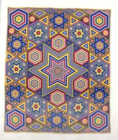 Mosaic quilt, made by Albert Small, as well as Marion Small and Eva Clements. Illinois State Museum Erica, check this out! Antique Quilts, Vintage Quilts, Gees Bend Quilts, Jewish Crafts, Plus Quilt, Hexagon Quilt, Hexagon Pattern, English Paper Piecing, Small Quilts