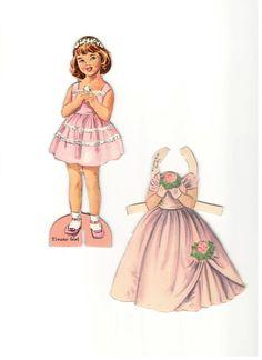 ~ ~ La poupée de papier défini « Demoiselle » ~ ~  CIRCA 1950  s  Charmante poupée de papier des années 1950 la valeur qui comprend une poupée robuste et sept tenues. Deux dentre eux sont pas découper encore. Ils sont en excellent état !  Elle mesure 6,75 de haut.  Un grand merci