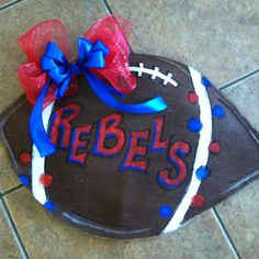 Burlap Football door hanging