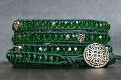 Celtic jewelry - wrap bracelet - emerald green aurora borealis czech glass on dark emerald leather - St Patricks Day Handmade Jewelry Bracelets, Jewelry Crafts, Wrap Bracelets, Aurora Borealis, Celtic Designs, Celtic Knot, Emerald Green, Crystal Beads, Etsy