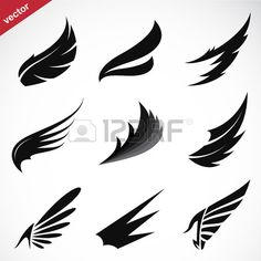 Find Vector Black Wing Icons Set On stock images in HD and millions of other royalty-free stock photos, illustrations and vectors in the Shutterstock collection. Free Vector Images, Vector Art, Vector Icons, Image Vector, Alas Tattoo, Icon Design, Logo Design, Wings Icon, Wings Drawing