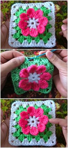 Crochet Granny Square Patterns Crochet Granny Square With Flower - Crochet a granny square with flower in the center. Very beautiful and attractive with modern design. Ideal to crochet blankets, pillows and other creations. Granny Square Pattern Free, Granny Square Häkelanleitung, Granny Square Crochet Pattern, Crochet Granny, Easy Crochet, Granny Squares, Crochet Shawl, Crochet Flower Squares, Crochet Blocks