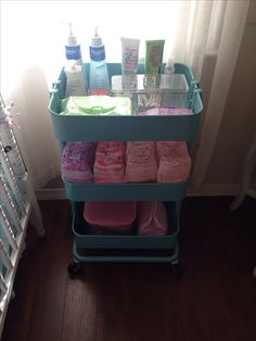 Ikea cart for all baby essentials! Everly loves her honest company diapers too