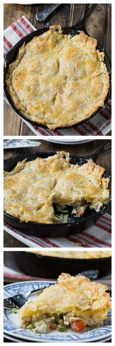 Skillet Chicken Pot Pie with Cheddar Crust - using a cast iron skillet makes this pot pit a one dish meal.