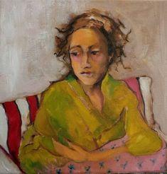 Original Oil Painting 10 x 10 x 1 1/2. Loss, Figurative, minimalist, female, abstract, impressionist, figure, portrait, striped chair