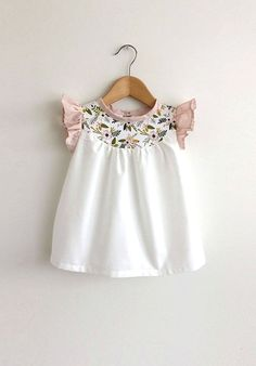 Handmade Cotton Dress With Pink & Gold Floral Detail | SwallowsReturn on Etsy