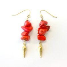 Coral Earrings Spike Earrings Gold Vermeil by jewelrybycarmal, $40.00
