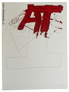 Antoni Tapies    one of my favorite art brut dudes.  this isnt my favorite image but i had to take it for the blatant AT (thats also how i sign my name)