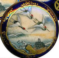 Button Uncommon 19th C. Japanese Satsuma Pottery with Red-crowned Cranes and Tortoise.