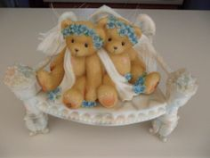 Enesco Cherished Teddies Collectible Chantel Fawn Bear Figurine Angel Friends and Bench $24.99 Classicsncollectiblesbycheryl.com