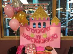Diy princess birthday castle backdrop!!