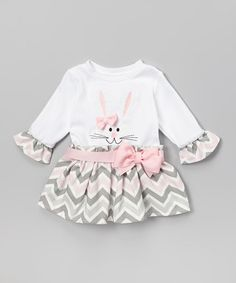 Pink & Gray Zigzag Bunny Dress - Infant & Toddler by Caught Ya Lookin' #zulily #zulilyfinds