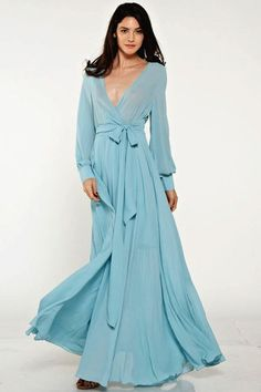 Feminine Mystique Ocean Blue Wrap Maxi Dress