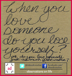 September 3, 2014: My observations about how we treat the people we love and how we treat ourselves. To me it's a delicate balance to get right. #lovingsomeone #learningtolove #lovelessons pic.twitter.com/YJOKyNKUlA