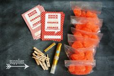 Very cute gift idea with candy orange slices: knock knock? Orange who? Orange you glad it's summer? School Gifts, Student Gifts, School Treats, School Days, School Stuff, School Holidays, School Lunch, Sunday School, Teacher Appreciation Gifts