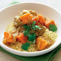 Moroccan Chicken Stew with Sweet Potatoes. Cinnamon and ginger complement the sweet potatoes in this easy but exotic-tasting chicken stew. Fluffy couscous absorbs the aromatic sauce. Easy Chicken Stew, Stew Chicken Recipe, Quick Chicken Recipes, Sweet Potato Recipes, Great Recipes, Favorite Recipes, Interesting Recipes, Potato Meals, Chicken Soups