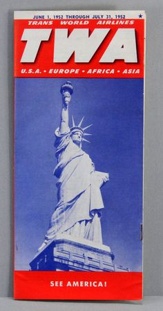 TWA June through July 1952 Airline Time TableTimetable Brochure 17883 by QueeniesCollectibles on Etsy