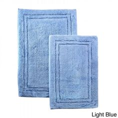 Bathroom Rug Set Bath Mats Cotton 2 Piece Home Decor Non Slip Light Blue Rugs #Superior