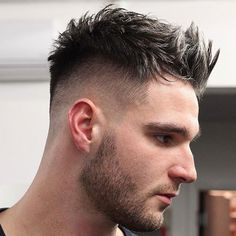 Messy Spiky Hair with High Fade and Beard