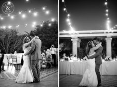A first dance under the market lights... so romantic and lovely. Rancho Valencia Wedding | Holly and Brian, Photography by Clove & Kin. View More: http://cloveandkin.com/blog/rancho-valencia-wedding-holly-brian/