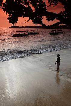 Sunset in beach, Unawatuna, Sri Lanka