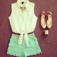 Gorgeous mint lace shorts with top white blouse and golden ladies shoes the best summer teenage fashion trend. more here http://artonsun.blogspot.com/2015/04/gorgeous-mint-lace-shorts-with-top.html