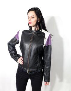 Vintage 90's Real Leather Colorblock Black Purple White Crop Slim Fit Jacket  by Ramaci