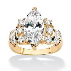 7.60 CT TW Marquise, Round and Baguette DiamonUltra™ Cubic Zirconia Ring in 14k Gold-Plated