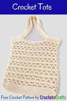 Free pattern for a crochet tote. This tote works up fairly quick due to the open laced stitch pattern. To keep the stitches as intended, you will need to line this bag. #crochet #tote #bag #pattern #freecrochetpattern #crochetncrafts