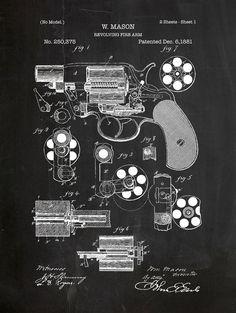 Revolver patent print on chalkboard background