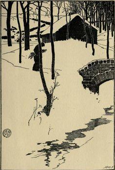 geisterseher: The Evergreen, a northern seasonal. Published 1895 by P. Geddes in Edinburgh . 'A Cottage in a Wood' by James Cadenhead. (via TumbleOn) Japanese Prints, Japanese Art, Winter Illustration, Illustration Art, Art Shed, Winter Art, Caricatures, Woodblock Print, Evergreen