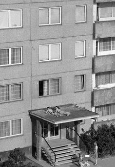 """Fun Outdoor Activities For The Summer, coronavirus edition [Sunbathing in East Germany, 1982 - via brutgroup]"" Fun Outdoor Activities, Outdoor Fun, Outdoor Decor, East Germany, Native American History, British History, New Poster, Bratislava, Socialism"